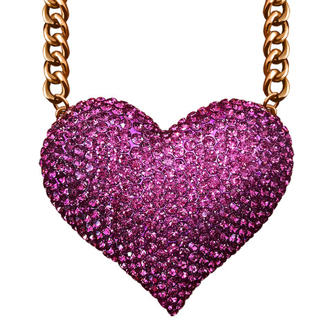 Jumbo Rhinestone Heart Necklace - Kigmay Jewelry - New York
