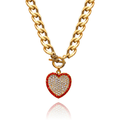 Rhinestone Toggle Heart Necklace - Kigmay Jewelry - New York