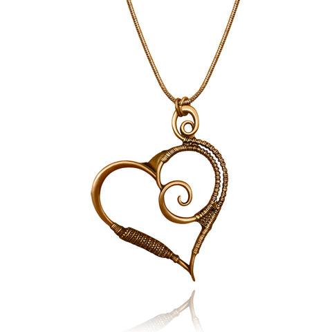 Gold Sand Heart Necklace - Kigmay Jewelry - New York