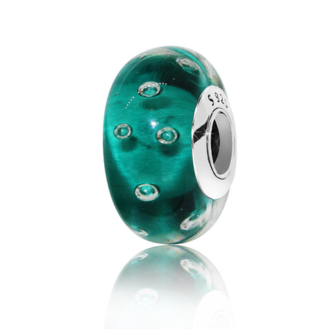 Round Green Glass Spacer Bead - Kigmay Jewelry - New York