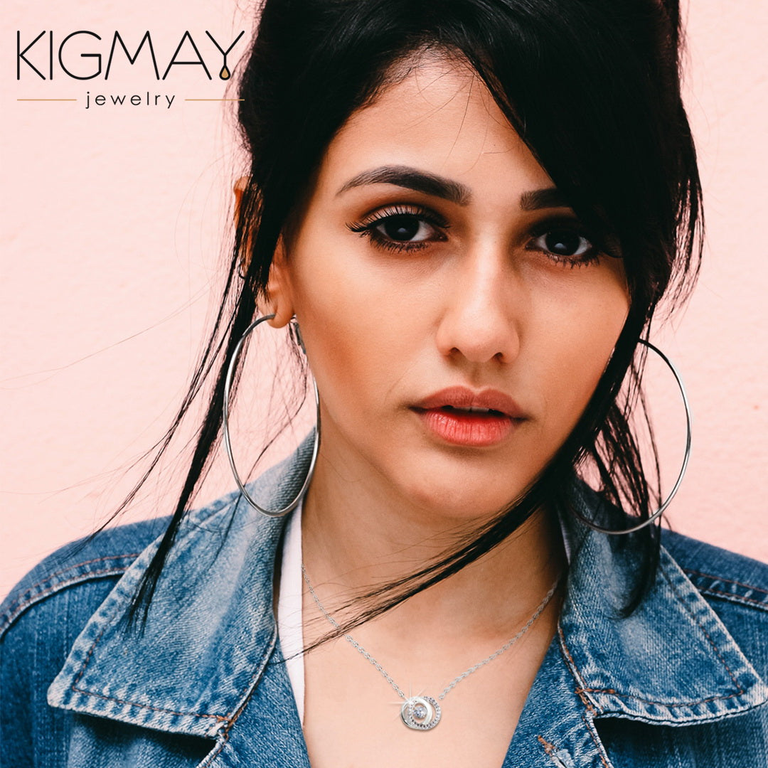 CZ Double Circle Necklace - Kigmay Jewelry - New York