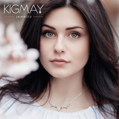 CZ Deer Antler Necklace - Kigmay Jewelry - New York