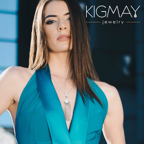 CZ Chain Tassel Necklace - Kigmay Jewelry - New York