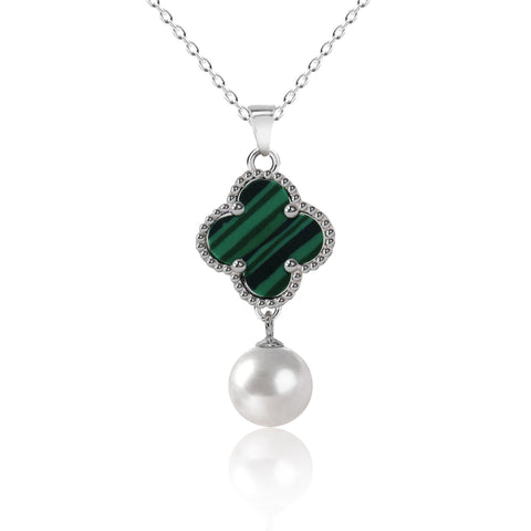 Clover Pearl Pendant Necklace - Kigmay Jewelry - New York