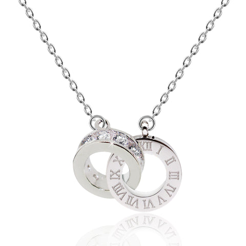 CZ Linked Double Circle Necklace - Kigmay Jewelry - New York