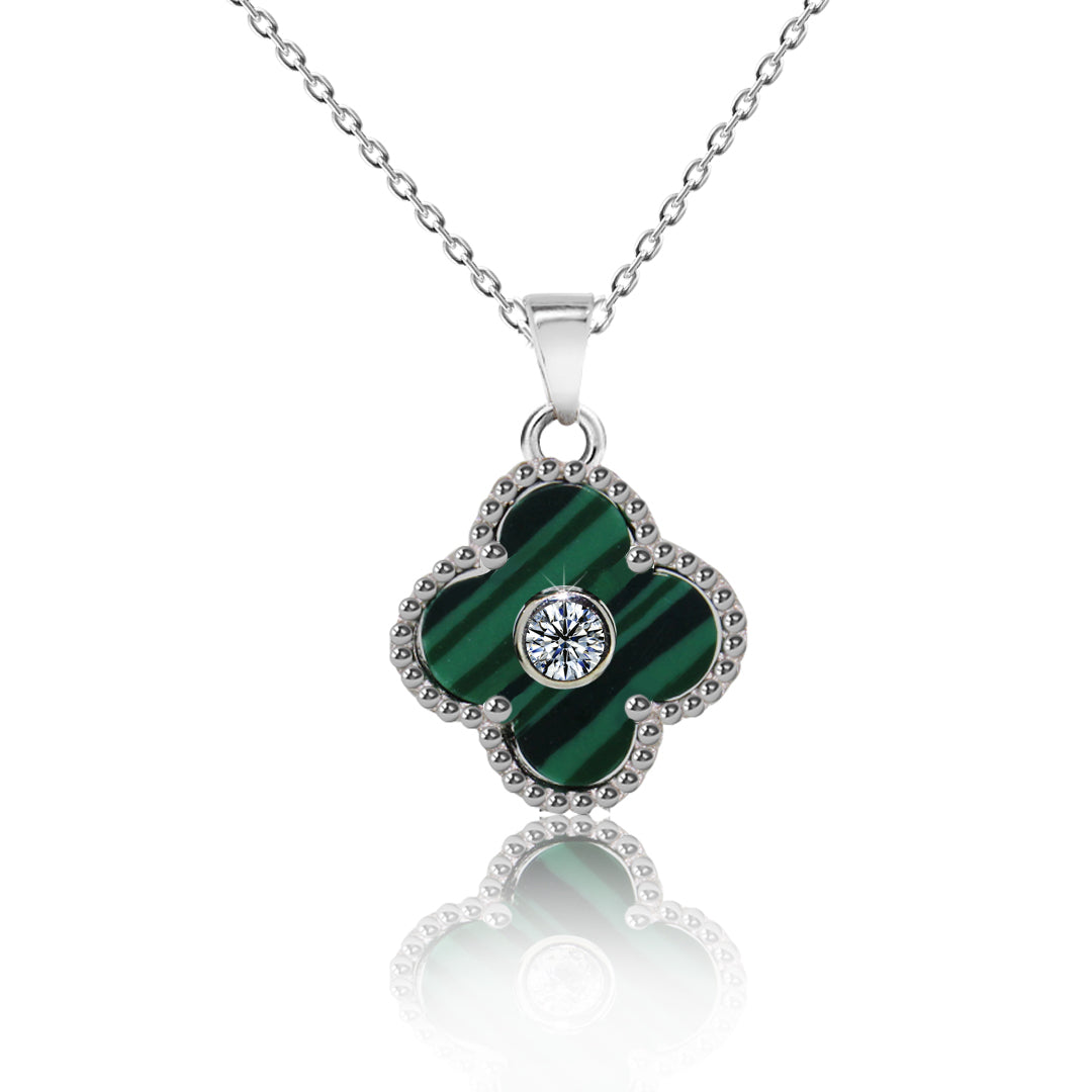 925 sterling silver cz green clover irish pendant necklace for women cz green clover pendant necklace kigmay jewelry new york aloadofball Image collections