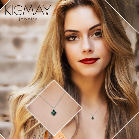 CZ Green Clover Pendant Necklace - Kigmay Jewelry - New York