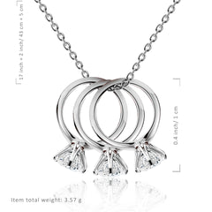 CZ Triple Engagement Ring Necklace - Kigmay Jewelry - New York