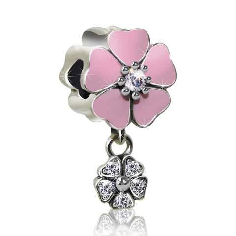 Dangling Pink Flower Charm - Kigmay Jewelry - New York