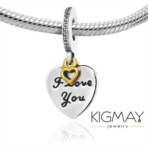 Dangling I Love You Heart Charm - Kigmay Jewelry - New York