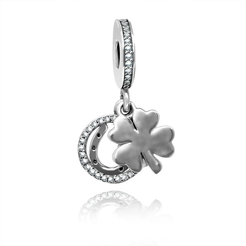 CZ Horseshoe Clover Charm - Kigmay Jewelry - New York