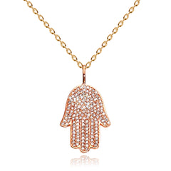 CZ Hamsa Pendant Necklace - Kigmay Jewelry - New York