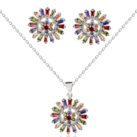Multicolored CZ Pendant Necklace - Kigmay Jewelry - New York