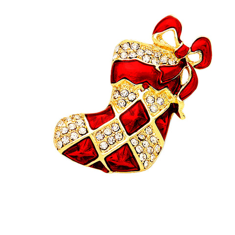 Christmas Sock Pin Brooch - Kigmay Jewelry - New York