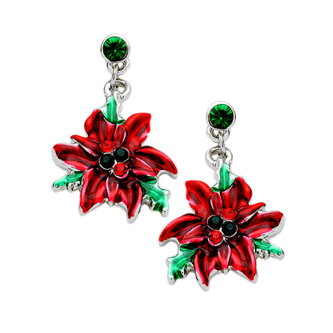 Christmas Poinsettia Earrings - Kigmay Jewelry - New York