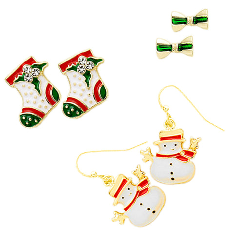 Socks Snowman Stud Earrings - Kigmay Jewelry - New York