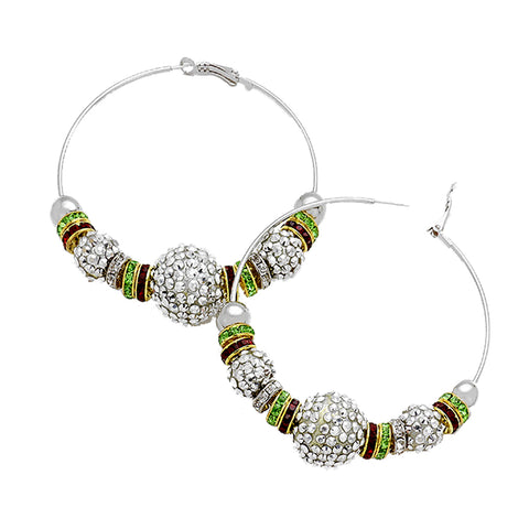 Shamballa Bead Hoop Earrings - Kigmay Jewelry - New York