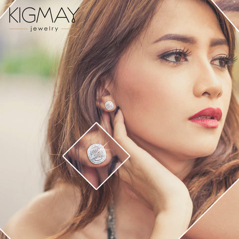CZ Halo Stud Earrings - Kigmay Jewelry - New York