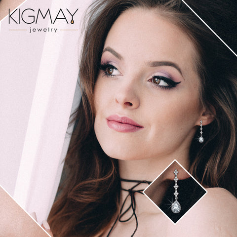 CZ Pear Shaped Dangle Earrings - Kigmay Jewelry - New York