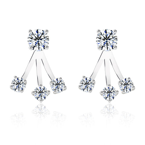 CZ Three Stone Earrings - Kigmay Jewelry - New York