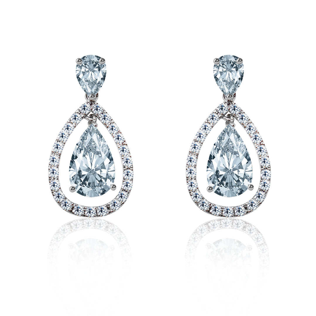 CZ Pear Shaped Earrings - Kigmay Jewelry - New York