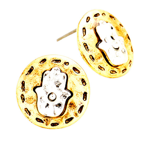 Two Tone Metal Disc Stud Earrings - Kigmay Jewelry - New York