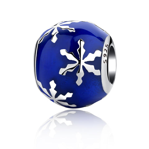 Blue Wintry Delight Christmas Snowflake Charm Bead - Kigmay Jewelry - New York