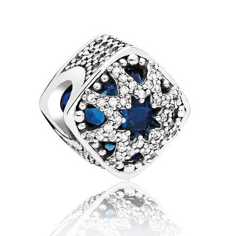 CZ Blue Topaz Snowflake Charm Bead - Kigmay Jewelry - New York