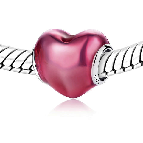 Genuine Pandora silver IN MY HEART red Violet Enamel Charm - Kigmay Jewelry - New York