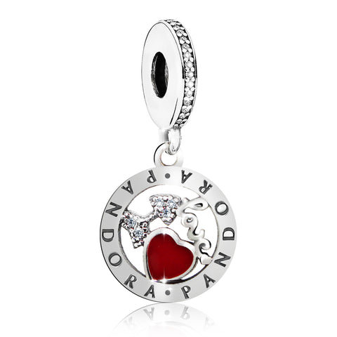 Pandora Red Bow and Heart Dangling Charm Bead - Kigmay Jewelry - New York