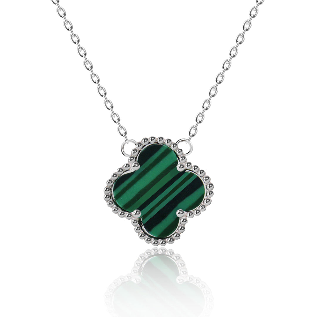 Kigmay jewelry 925 sterling silver four leaf green stripes clover four leaf green stripes clover pendant necklace aloadofball Image collections