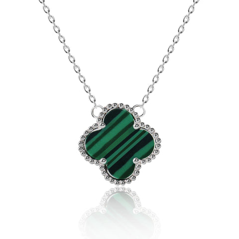 Four Leaf Green Stripes Clover Pendant Necklace - Kigmay Jewelry - New York