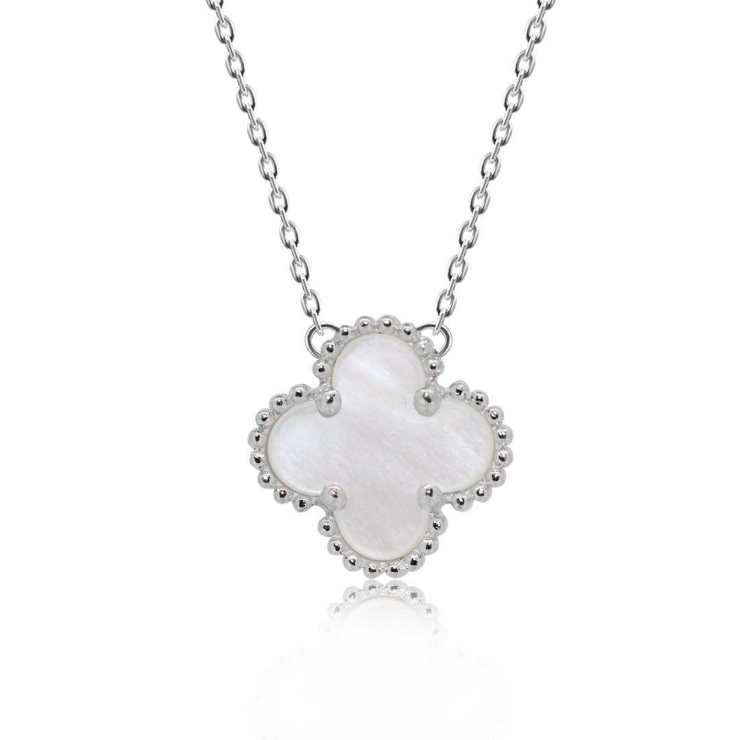 Kigmay jewelry 925 sterling silver pearl style four leaf clover pearl style four leaf clover pendant necklace kigmay jewelry new york mozeypictures Image collections