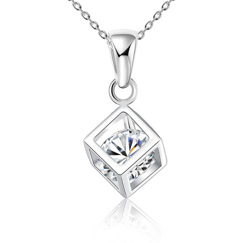 "Clear CZ ""Heart in Cage"" Square Cube - Kigmay Jewelry - New York"
