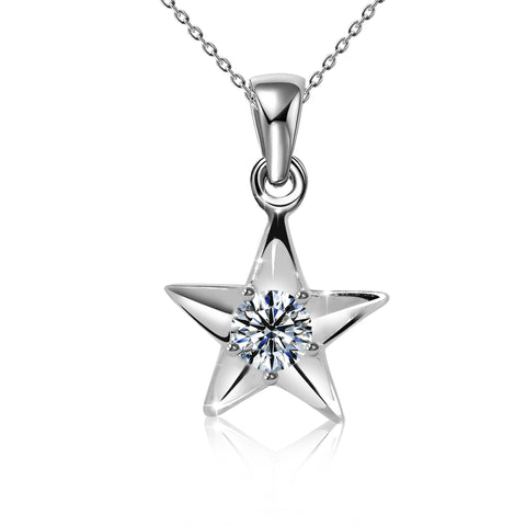 Clear CZ Five Point Patriotic Star Necklace