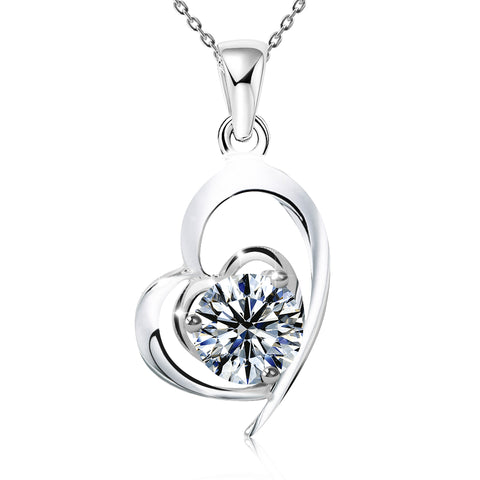 "Clear CZ ""Love is Beautiful"" Heart Necklace"
