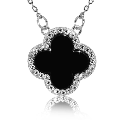 Four-Leaf Black Clover Irish Celtic Pendant Necklace - Kigmay Jewelry - New York