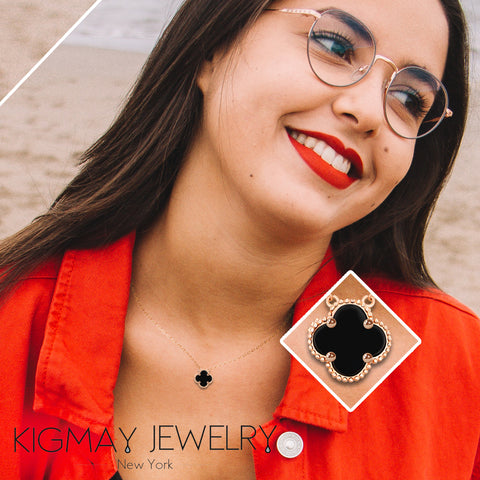 Four Leaf Black Clover Necklace - Kigmay Jewelry - New York
