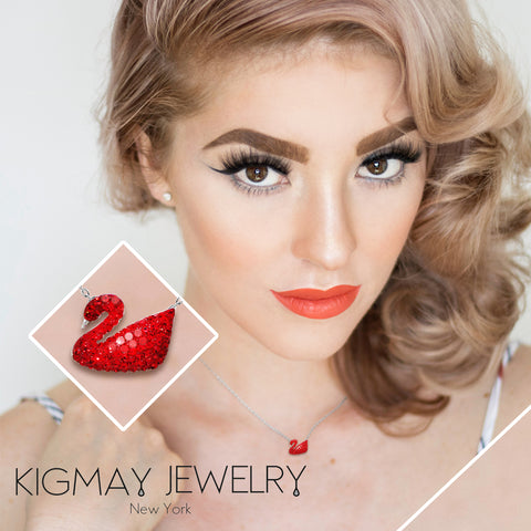 Iconic Red Swan Pendant Necklace - Kigmay Jewelry - New York