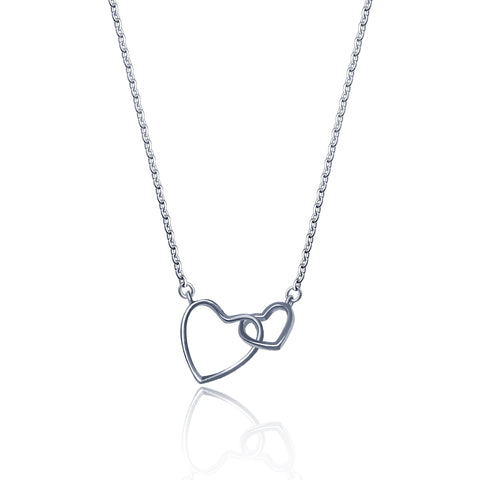 Two Interlocking Open Double Heart Necklace - Kigmay Jewelry - New York