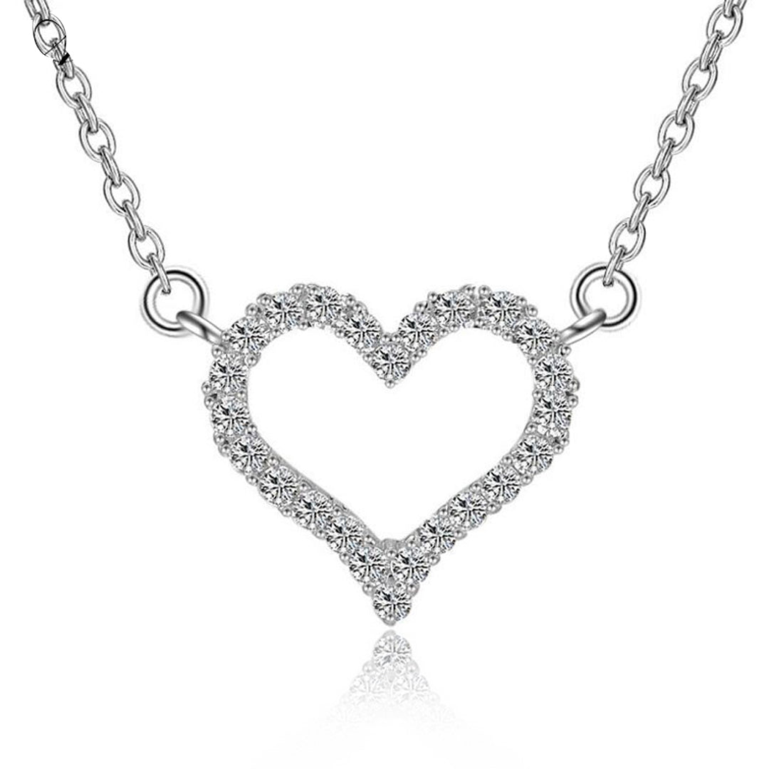 Kigmay jewelry 925 sterling silver cubic zirconia open heart pendant open heart pendant necklace kigmay jewelry new york aloadofball Images