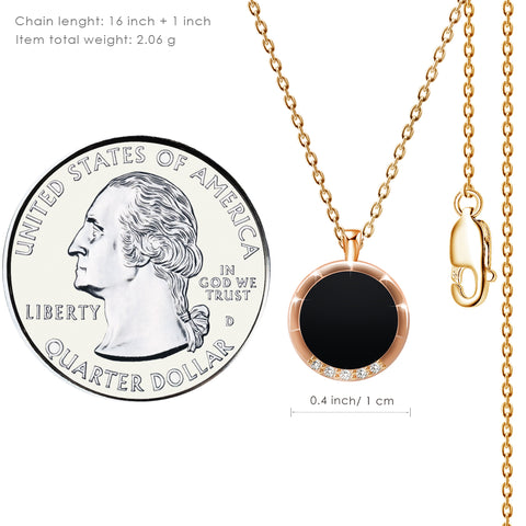 Gold Plated CZ Encrusted Disc Pendant Necklace - Kigmay Jewelry - New York