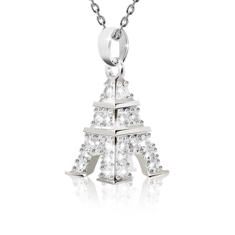 Silver Plated Eiffel Tower Pendant Necklace - Kigmay Jewelry - New York