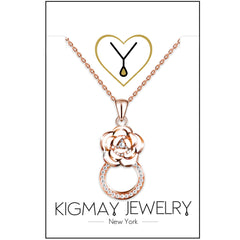 Crystal Flower Ring Pendant Necklace - Kigmay Jewelry - New York