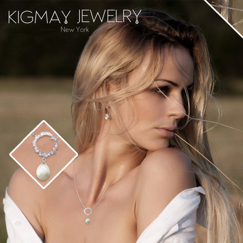 CZ Circle and Dangling Oval Pearl Pendant Necklace - Kigmay Jewelry - New York