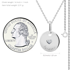 """Forever"" Engraved Disk Pendant Necklace - Kigmay Jewelry - New York"