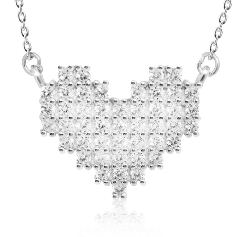CZ Plated Сrispy Heart Pendant Necklace - Kigmay Jewelry - New York