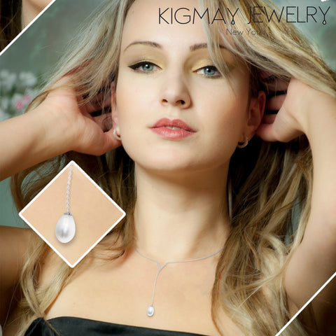 V Shape Oval Pearl Pendant Necklace - Kigmay Jewelry - New York