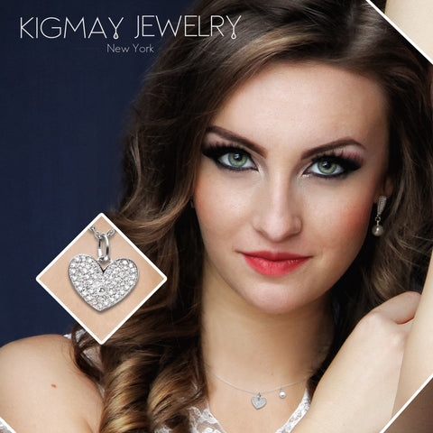 CZ Plated Heart and Pearl Pendant Necklace - Kigmay Jewelry - New York