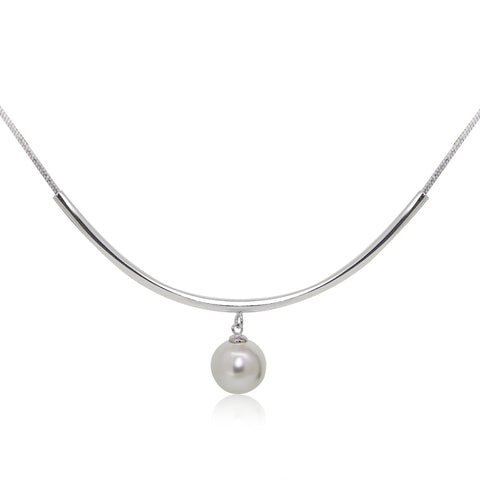 Pearl and Curved Bar Pendant Necklace - Kigmay Jewelry - New York